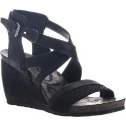 Women's OTBT Freedom Strappy Wedge Sandal Black Leather