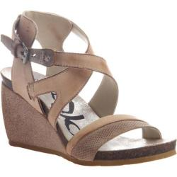 Women's OTBT Freedom Strappy Wedge Sandal Stone Leather