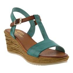 Women's Spring Step Jamari T Strap Sandal Turquoise Leather