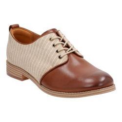 Women's Clarks Zyris Toledo Plain Toe Shoe Dark Tan Cow Full Grain Leather/Textile