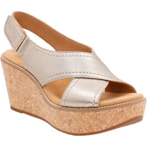 20b240eb4a7 Shop Women s Clarks Aisley Tulip Wedge Sandal Gold Metallic Goat Full Grain  Leather - Free Shipping Today - Overstock.com - 14391847