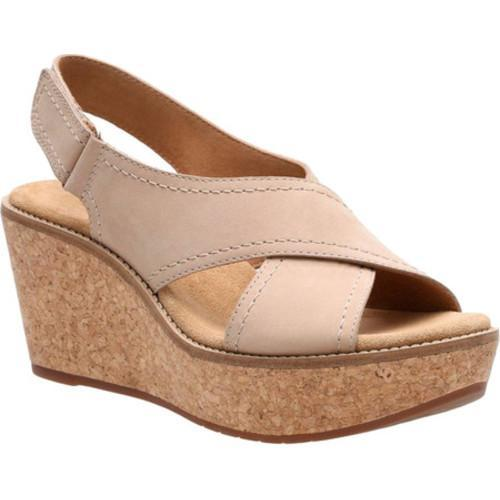 520645aa96a6 Shop Women s Clarks Aisley Tulip Wedge Sandal Sand Cow Nubuck - Free  Shipping Today - Overstock.com - 14391851