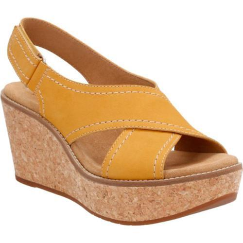 a56eeed8d70 Shop Women s Clarks Aisley Tulip Wedge Sandal Yellow Cow Nubuck ...