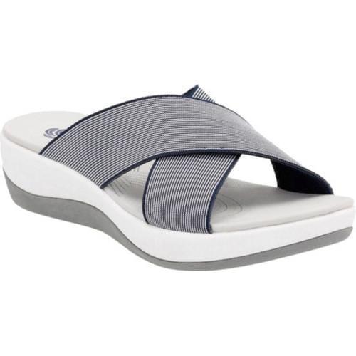 8c06516e5430 Shop Women s Clarks Arla Elin Slide Navy White Textile - Free Shipping  Today - Overstock - 14391864