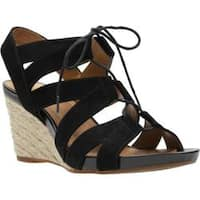 Women's Clarks Acina Chester Strappy Wedge Black Goat Suede