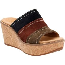 Women's Clarks Aisley Lily Slide Navy Combination Cow Suede