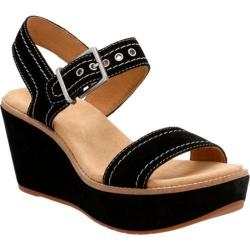 Women's Clarks Aisley Orchid Quarter Strap Wedge Black Cow Suede