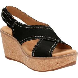 Women's Clarks Aisley Tulip Wedge Sandal Black Cow Nubuck