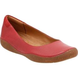 Women's Clarks Autumn Sun Ballet Flat Red Goat Full Grain Leather