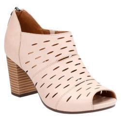 Women's Clarks Banoy Takala Peep Toe Shoe Nude Cow Full Grain Leather