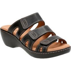 Women's Clarks Delana Damir Strappy Sandal Black Leather Combination
