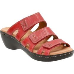 Women's Clarks Delana Damir Strappy Sandal Red Leather Combination