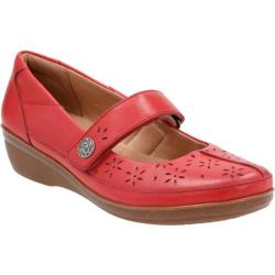 Women's Clarks Everlay Bai Mary Jane Red Cow Full Grain Leather