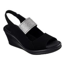 Women's Skechers Rumblers Sparkle On Wedge Sandal Black/Clear