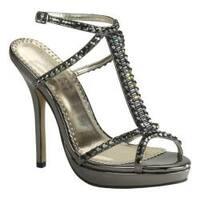 Women's Johnathan Kayne Dante T-Strap Sandal Pewter Mirror Patent