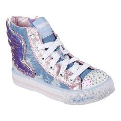 Girls' Skechers Twinkle Toes Shuffles Wonder Wings High Top Light Blue/Pink