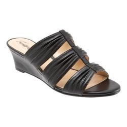 Women's Trotters Mia Slide Wedge Sandal Black Leather