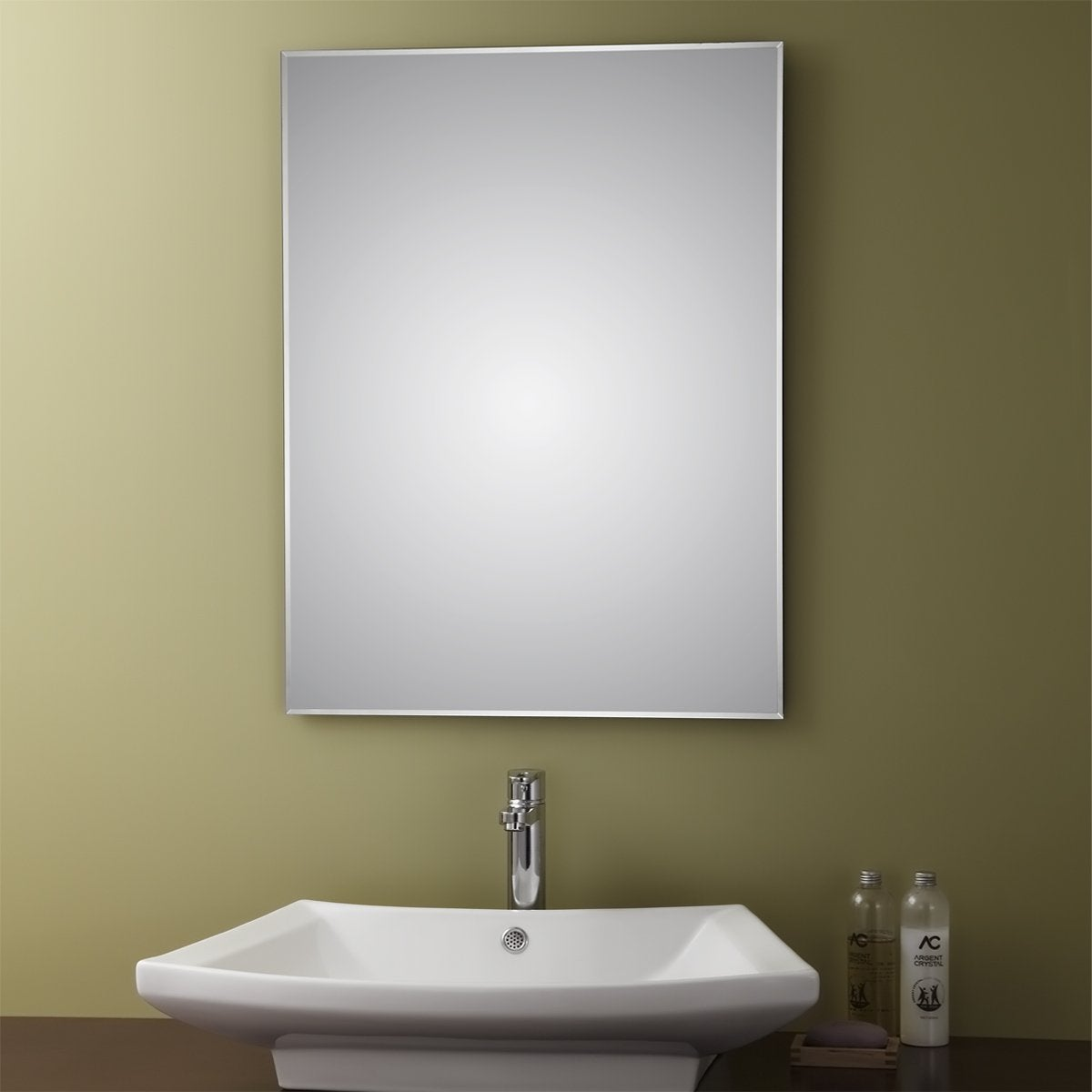 Bathroom sink and mirror - Belvedere 32 X 24 Inch Frameless Wall Mirror