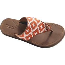 Women's Acorn Artwalk Leather Flip Sandal Orange/Cream Southwest Leather/Cotton Canvas
