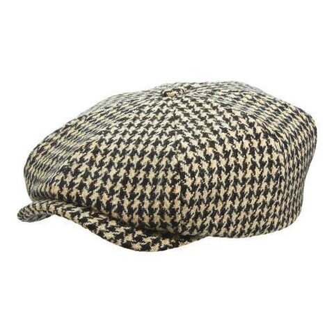Men's Stetson STW268 Houndstooth Newsboy Cap Black/White