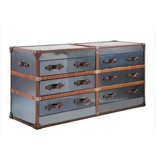 Leather 6 Drawer Double Dresser