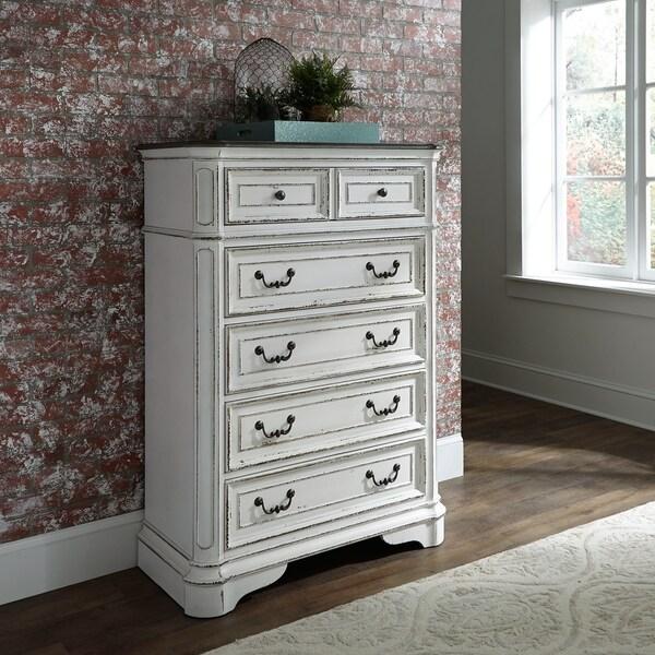 Shop Magnolia Manor Antique White 5 Drawer Chest On Sale