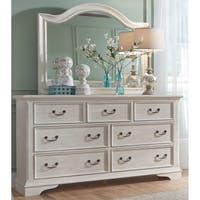 Bayside Antique White and Heavy Wire Brush Finish 7-Drawer Dresser And Arch Mirror Set