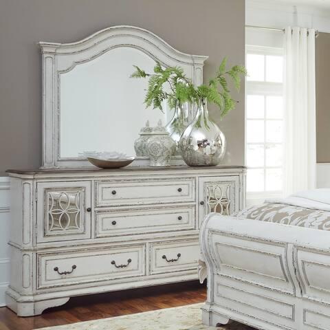 Magnolia Manor Antique White Arch Mirror - White/Oak