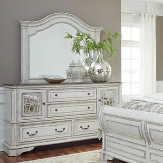 Magnolia Manor Antique White Arch Mirror - White/Oak/Off-White