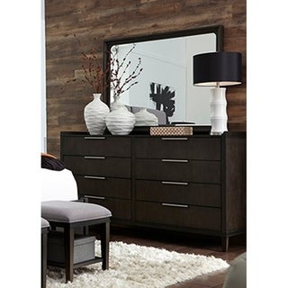 Tivoli Satin Charcoal 8-Drawer Dresser AND Mirror Set