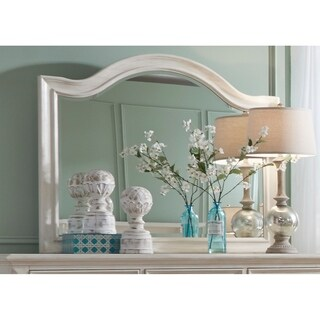 Bayside Antique White Wire Brush Arched Mirror - Off-White