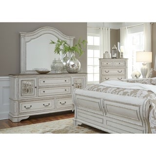 Magnolia Manor Antique White 2 Door 4 Drawer Dresser And Arch Mirror Set