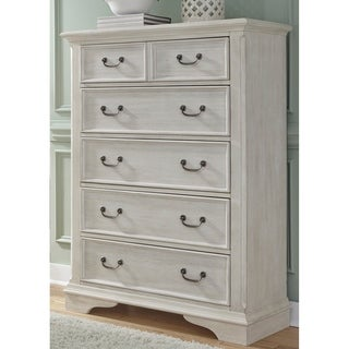 Bayside Antique White and Heavy Wire Brush Finish 5-Drawer Chest