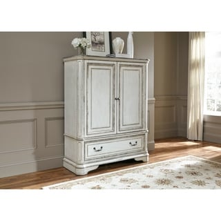 Magnolia Manor Antique White Door Chest Armoire
