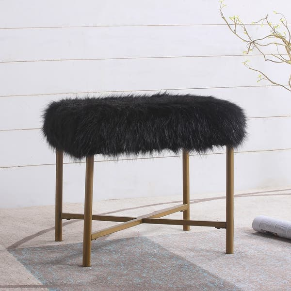 Magnificent Shop Silver Orchid Kelly Pink Faux Fur Square Ottoman On Camellatalisay Diy Chair Ideas Camellatalisaycom