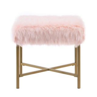 Silver Orchid Kelly Pink Faux Fur Square Ottoman