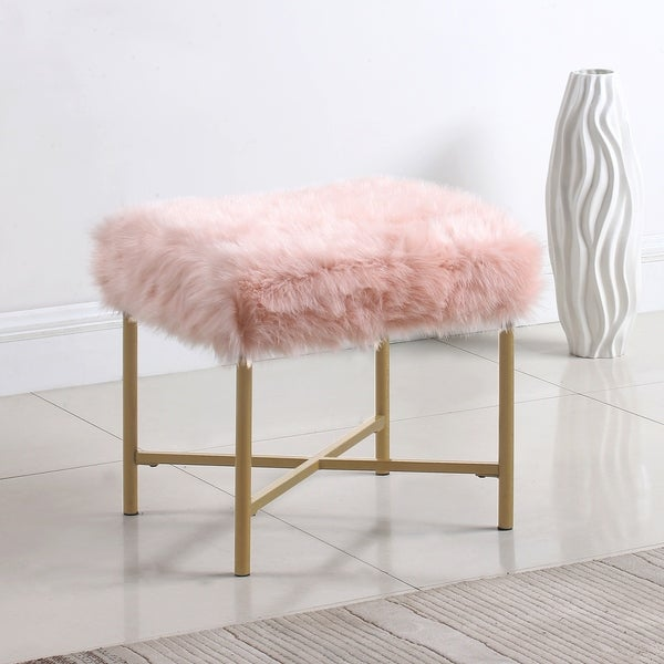 Silver Orchid Kelly Pink Faux Fur Square Ottoman. Opens flyout.