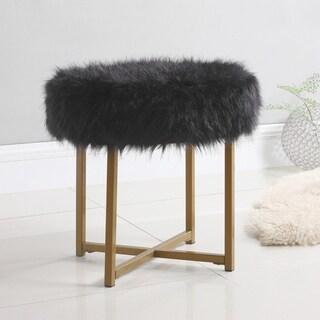 HomePop Faux Fur Round Ottoman - Black