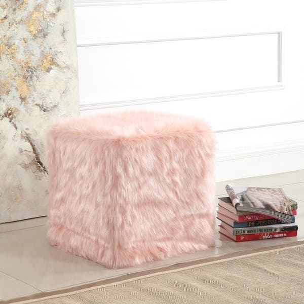 Groovy Shop Silver Orchid Kelly Square White Faux Fur Poof On Short Links Chair Design For Home Short Linksinfo