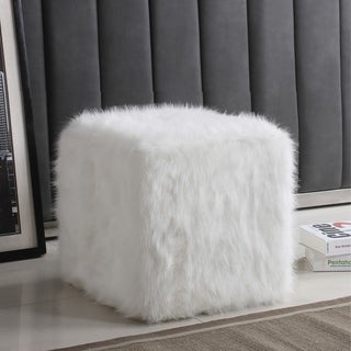 Silver Orchid Kelly Square White Faux Fur Poof