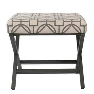 Porch & Den Blake Grey Lattice Metal Upholstered Ottoman