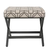Carson Carrington Eslov Grey Lattice Metal Upholstered Ottoman