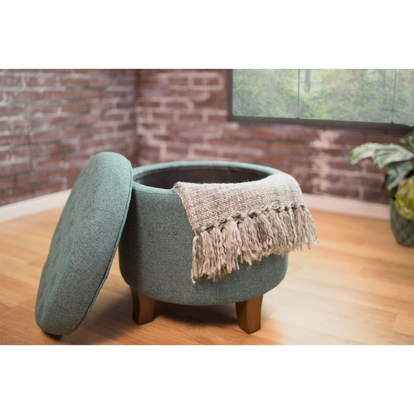 Large Linen Fabric Storage Ottoman Home & Garden Grey Cheap Sales 50%