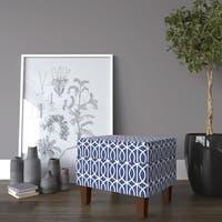 Porch & Den Cammy Blue Trellis Storage Ottoman