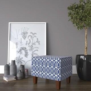 HomePop Bella Storage Ottoman - Blue Trellis