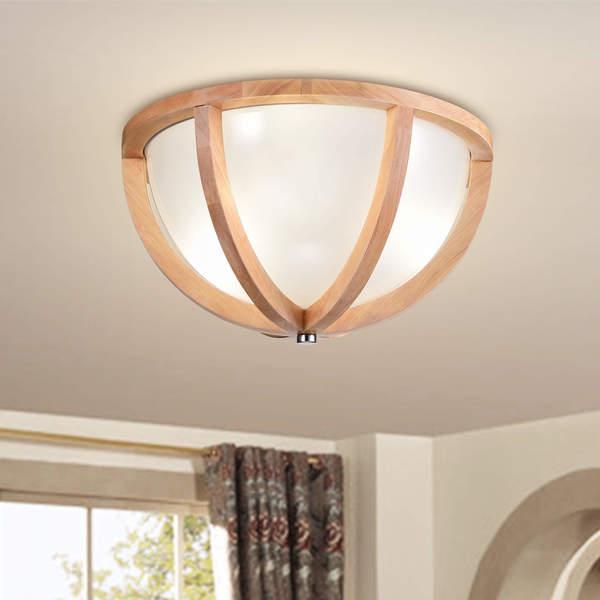 Shop Paulina Natural Wood Frame Glass Shade Ceiling Flush Mount ...