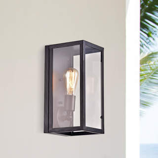 La Pedriza Vintage Antique Black Clear Glass Wall Sconce