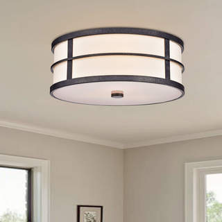 Blanca Contemporary Bronze 3-light Fabric Shade Flush Mount