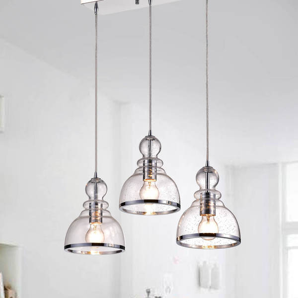 Alita Iron 3-light Clear Bubble Glass Cluster Pendant With Chrome Finish