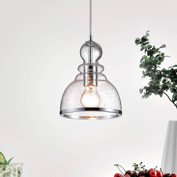 Alita Chrome Mini Pendant with Clear Bubble Glass